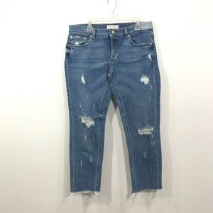 {Zara} Cropped Distressed Raw Hedge Jeans